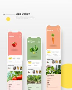 """""""Flying Veggies"""" is a conceptual app that allows you to plant vegetables, fruits and herbs on roofs. The app was created as part of Adobe Live in June Mobile Ui Design, Ui Ux Design, Application Ui Design, Web Design Tips, User Interface Design, Flat Design, Creative Web Design, Dashboard Design, Graphic Design"""
