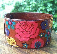 Flower leather cuff ♥ www.clickincowgirls.com