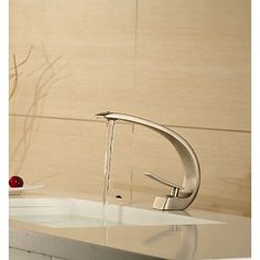 $104.99  Contemporary Style Single Handle One Hole Hot and Cold Nickel Brushed Bathroom Sink Faucet-- FaucetSuperDeal.com