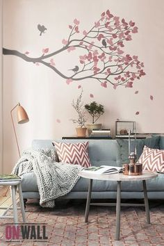 Living Room Decor - vinyle mural branche avec oiseaux - Wall Decal Wall Sticker - S002