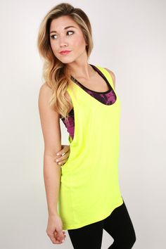 23080e0659cc6 Racer Back Loose Top in Neon Yellow