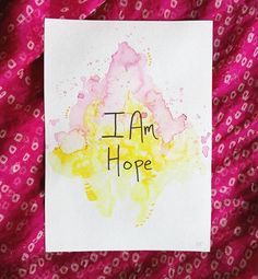 . I Am Hope Original 5x7 watercolor and acrylic ink from the@i_am_powerdeck  This original is available for $7 + shipping ($5 US and $8 international.) Does this one speak to you? Comment SOLD below!  Check out#iampoweroriginalsto see the rest! . . . . #iampowerdeck#brittburkardart#art#watercolor#iam#texasartist#houstonartist#artforsale #abmlifeiscolorful