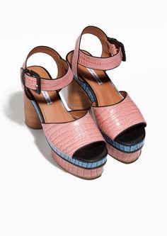 & Other Stories | Embossed Leather Platform Sandals