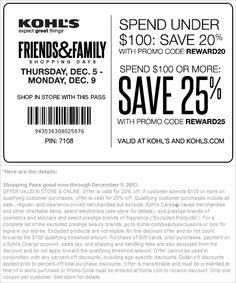 Pinned December 4th: 20% off and more at Kohls, or online via promo code REWARD20 #coupon via The Coupons App