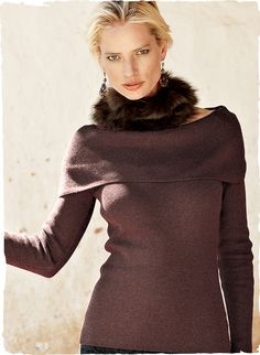 A head-turning silhouette, our sleek, rib-knit portrait cowl top looks fabulous with everything from jeans and cords to long evening skirts. Full-fashioned knit of pure pima with slim raglan sleeves.