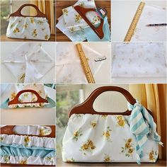 Here a tutorial on how to sew a gorgeous wood handle handbag . It& easy to make, you can use your favorite color and fabric to make your own designer hand Handbag Tutorial, Diy Handbag, Diy Purse, Tote Tutorial, Wooden Handle Bag, Wooden Handles, Denim Tote Bags, Wallet Pattern, Tote Pattern