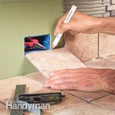 Give your countertops and backslash the timeless beauty of stone. Here's how to complete a DIY tile job for ceramic tile kitchen countertops. Tile Counters, Laminate Countertops, Kitchen Countertops, Backsplash, Kitchen Cabinets, Kitchen Tiles, Kitchen Design, Kitchen Sink, How To Lay Tile