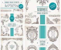 Baroque decorative elements vector