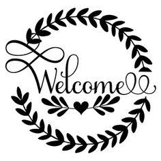 Silhouette Design Store welcome wreath Silhouette Cameo, Machine Silhouette Portrait, Silhouette Projects, Silhouette Design, Vinyl Projects, Projects To Try, Welcome Design, Welcome Font, Welcome Stencil