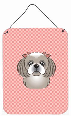 Checkerboard Pink Gray Silver Shih Tzu Wall or Door Hanging Prints BB1250DS1216