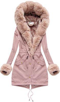 Dámska bavlnená parka s kožušinou ružová Cute Coats, Models, Fur Fashion, Ootd, Sweaters For Women, Rompers, Clothes For Women, Stuff To Buy, Outfits