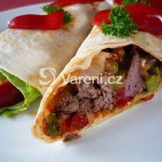 Tortilla s kuřecími játry recept - Vareni. Tacos, Mexican, Ethnic Recipes, Red Peppers, Mexicans