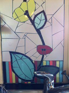 fresque de cuisine sol murale plan de travail lavabo