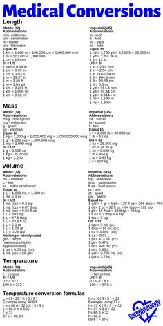Nursing Notes Discover Medical Conversions List Here is a list of common medical conversions. The most widely used system of measurement used around the world is the metric system otherwise known as the International System of Units (SI). Nursing School Notes, Medical School, Nursing Math, Funny Nursing, Medical Coding Schools, Nursing Lab Values, Medical Assistant School, Pharmacy Assistant, Med Surg Nursing