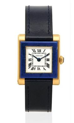 A Lapis Lazuli and Gold Wristwatch, Cartier, circa 1950
