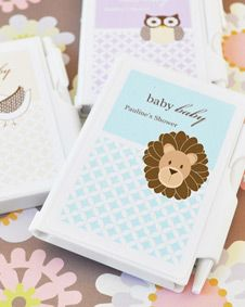 Baby Animals Personalized Notebook Favors. http://www.bluerainbowdesign.com/WeddingFavorProduct.aspx?ProductID=PR042310179836JeKeloXimenaBRD96667