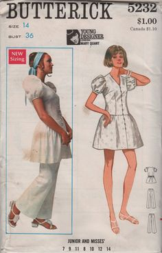 Butterick 5232 1960s  London Designer Mary Quant Misses  Mod Mini Dress and Pants Vintage Sewing Pattern by mbchills