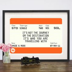 Personalised Train Ticket Print - for your other half