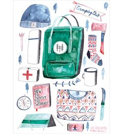 Awesome watercolor illustration camp, outdoors, survival Camping Club Print (DIN A3) by Greta's Sister
