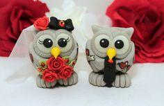 Tattooed owl wedding cake topper love bird tattoo by PerlillaPets