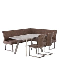 Allegra Suede Fabric Left Hard Corner Bench, Grey   Benches   Dining Room
