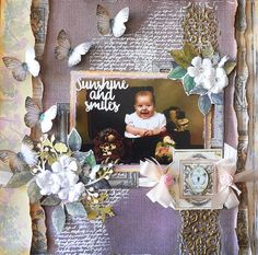 ADRIANA BOLZON  **  AB  INSPIRATIONS: Sunshine & Smiles layout - using the Ultimate Crafts - Rambling Rose collection