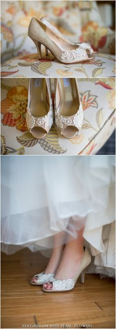 Wedding shoes gold champagne silver metallic peep toe high heels vegan bridal shoes embellished with floral ivory Venice lace / http://www.deerpearlflowers.com/vintage-lace-wedding-shoes/