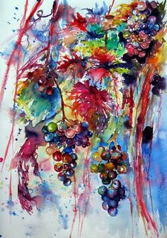 Beautiful autumn… Grapes - perfect gift idea Watercolor by Kovács Anna Brigitta Abstract Watercolor, Watercolor And Ink, Watercolour Painting, Watercolor Flowers, Watercolours, Painting Art, Art Paintings, Abstract Art, Grape Painting