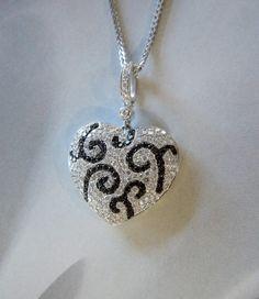 18K White Gold, Black & White Diamond Heart Pendant & Chain (.94 cttw) 50% OFF!! #Wedding #Bridal #Style #Deal