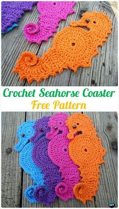 Crochet Seahorse Coaster Free Pattern - Crochet Coasters Free Patterns