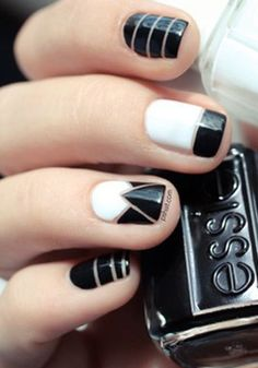 Love this chic black and white mani!