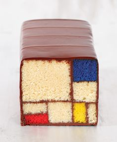 Caitlin Freeman's white velvet cake and a chocolate ganache are carefully cut and arranged to resemble Piet Mondrian's graphic works.