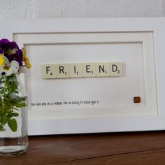 A hand-made frame, bought to life by scrabble letters, this Friend themed Scrabble® Art makes a perfect gift for any wonderful person. Scrabble Cards, Scrabble Letter Crafts, Scrabble Letters, Scrabble Kunst, Scrabble Tile Art, Box Frame Art, Box Frames, Hobbies And Crafts, Crafts To Make
