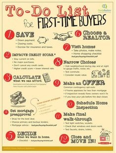 To Do List for First Time home buyers. Contact me for help with any real estate - Selling Home Tips - Ideas of Selling Home Tips - To Do List for First Time home buyers. Contact me for help with any real estate needs! I can help you find the perfect home. Home Buying Tips, Buying Your First Home, Home Buying Process, First Time Home Buyers, New Home Buyer, Buying A Condo, Real Estate Buyers, Real Estate Career, Real Estate Tips