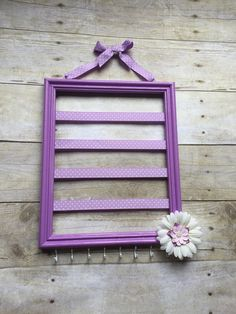 Lavender hair bow holder, lavender and white nursery decor, hair accessories organizer, jewelry storage, headband holder, picture frame bows
