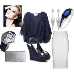 midnight blue with a white pencil skirt. loving it