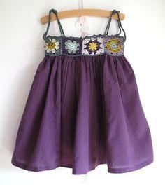 Granny Square bodice dress by http://ptepimprenelle.canalblog.com