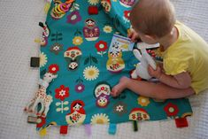Kid's Travel Toy Blanket with Velcro Loops and Ribbon Tags