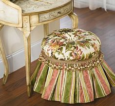 A tufted vanity stool to perch upon
