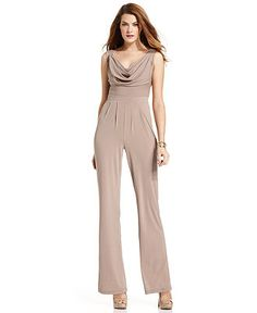 Spense Petite Jumpsuit, Sleeveless Cowl-Neck Wide-Leg - Womens Petite Pants - Macy's