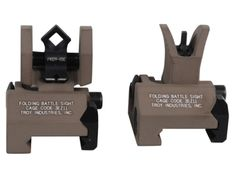 "Troy Micro Folding sights, FDE, Di-optric rear, 0.46"" folded, 1.16"" centerline."