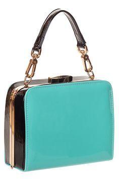 Turq No Mercy Vintage Handbag by Banned Apparel #retro #purse #handbag #turquoise #accessory