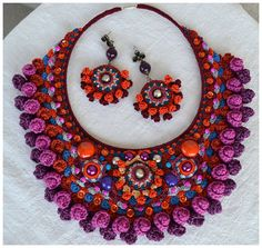 statement colorful fiber necklacefree form crochet by Marmotescu