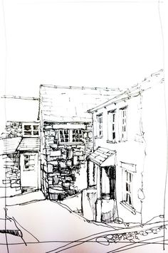 A simple line sketch of a cottage in Ambleside