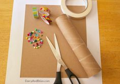 Craft supplies needed to make your own kaleidoscope for kids.