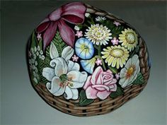 Hand Painted Rock : Floral Bouquet in Basket