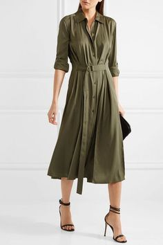 Army-green silk-blend Button fastenings through front silk, spandex Hand wash Designer color: Olive Imported Silk Shirt Dress, Long Sleeve Shirt Dress, Coat Dress, Dress Long, Safari Chic, Top Kaki, New Outfits, Dress Outfits, Green Dress Outfit