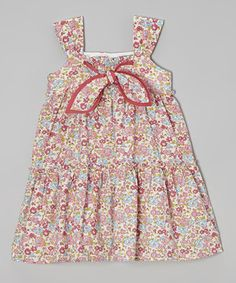 Another great find on #zulily! Mauve Floral Tie-Front Dress - Infant, Toddler & Girls by Les Petits Soleils by Fantaisie Kids #zulilyfinds