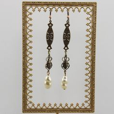 Handmade Belly Dancer Boho Long Bug Dangle Brass And Pearl Earrings by Harry W Wood of Oscarcrow Niobium Hooks by oscarcrow on Etsy