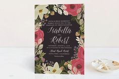 """Rhapsody"" - Floral & Botanical Foil-pressed Wedding Invitation Petite Cards in Peony by Griffinbell Paper Co.."